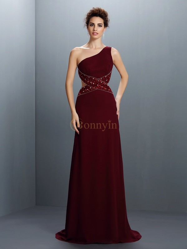 Burgundy Chiffon One-Shoulder A-Line/Princess Sweep/Brush Train Prom Dresses