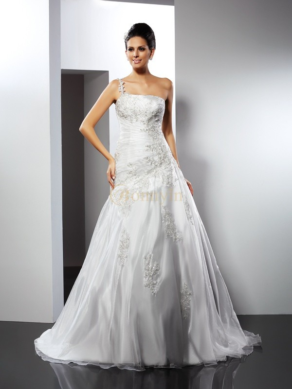 Ivory Satin One-Shoulder A-Line/Princess Chapel Train Wedding Dresses