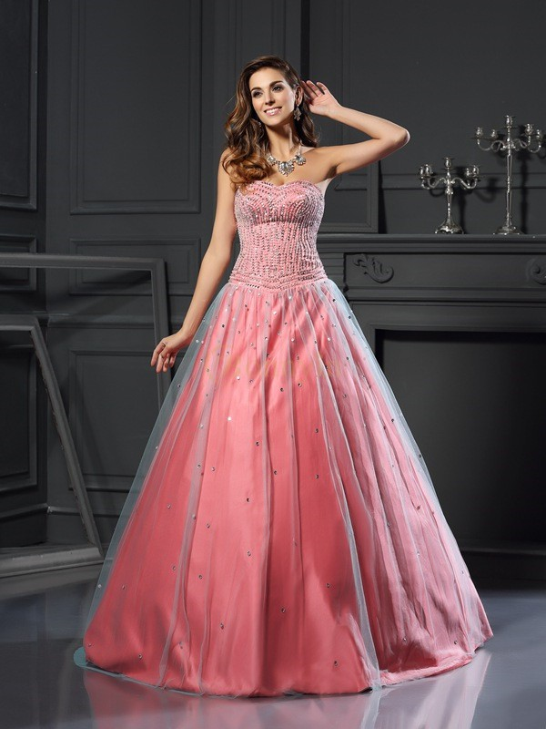 Watermelon Satin Sweetheart Ball Gown Floor-Length Prom Dresses