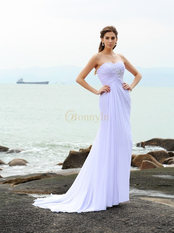 White Chiffon Sweetheart Sheath/Column Chapel Train Wedding Dresses