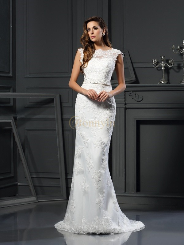 Ivory Satin Bateau A-Line/Princess Court Train Wedding Dresses