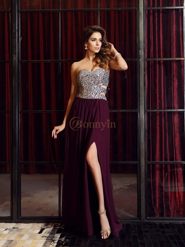 Grape Chiffon Sweetheart A-Line/Princess Sweep/Brush Train Dresses