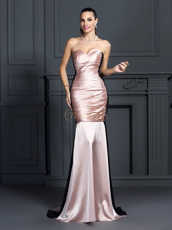Pearl Pink Taffeta Sweetheart Trumpet/Mermaid Sweep/Brush Train Dresses