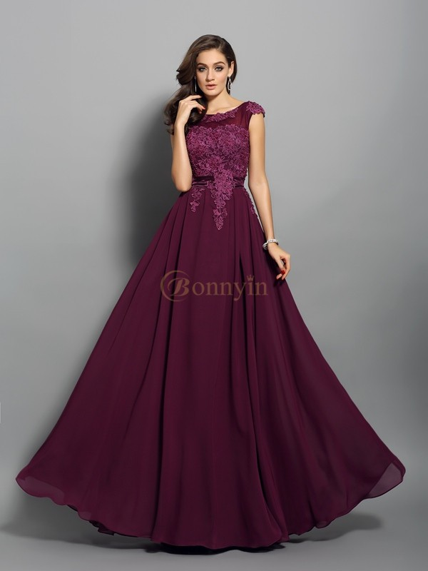 Grape Chiffon Scoop A-Line/Princess Floor-Length Dresses