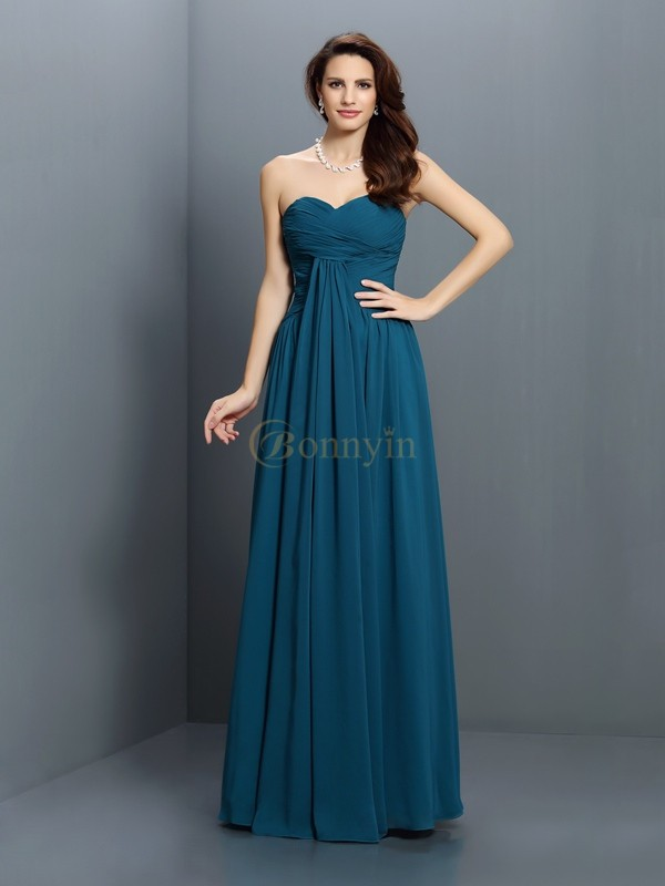 Dark Green Satin Sweetheart A-Line/Princess Floor-Length Bridesmaid Dresses