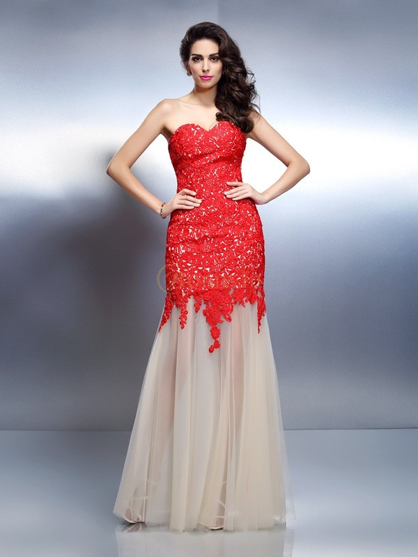 Red Net Sweetheart A-Line/Princess Floor-Length Dresses