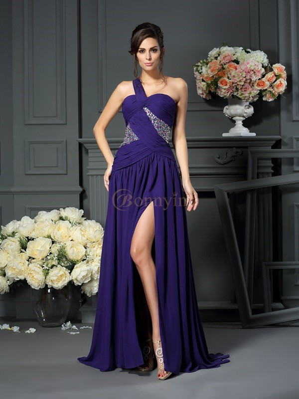 Grape Chiffon One-Shoulder A-Line/Princess Sweep/Brush Train Dresses