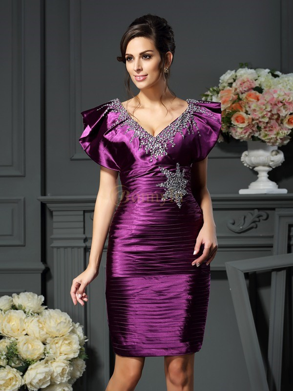 Grape Elastic Woven Satin V-neck Sheath/Column Short/Mini Mother of the Bride Dresses