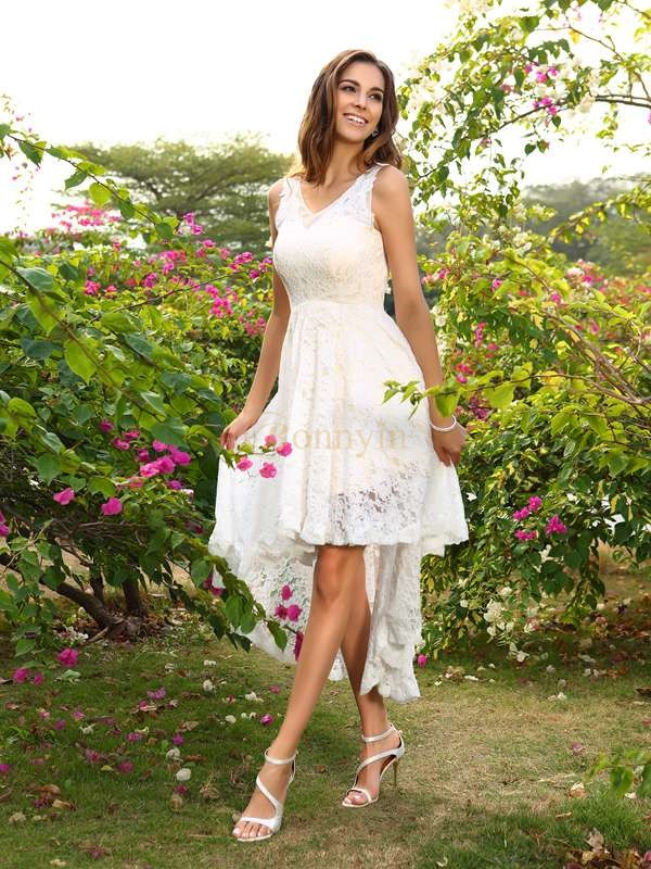 White Lace V-neck A-Line/Princess Asymmetrical Bridesmaid Dresses