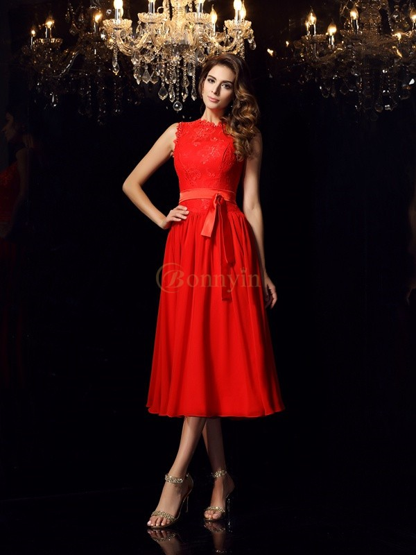 Red Chiffon High Neck A-Line/Princess Tea-Length Dresses