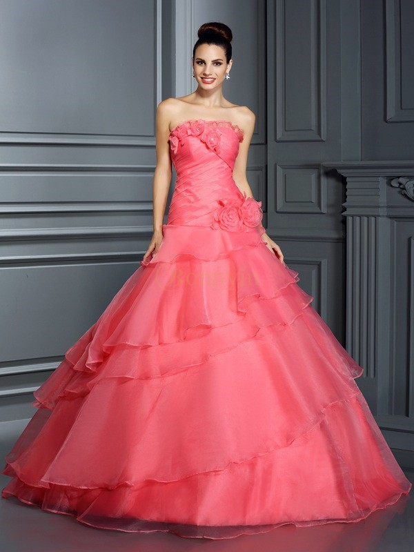 Pink Organza Strapless Ball Gown Floor-Length Prom Dresses