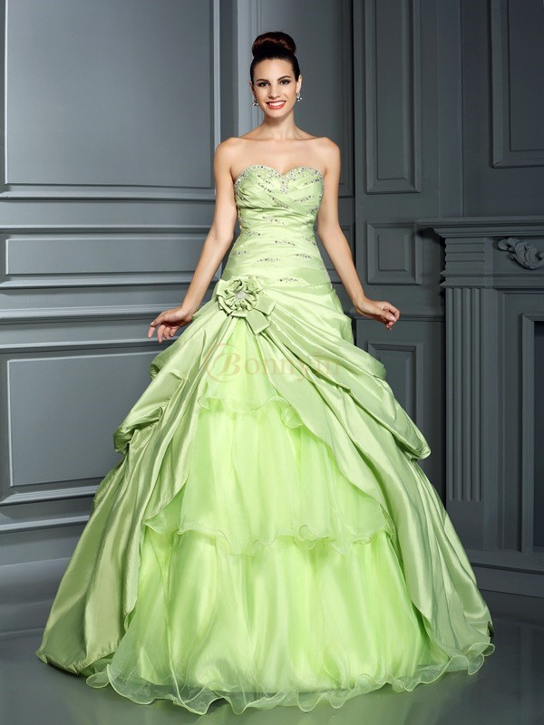 Sage Taffeta Sweetheart Ball Gown Floor-Length Prom Dresses