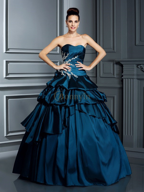 Dark Navy Taffeta Strapless Ball Gown Floor-Length Prom Dresses