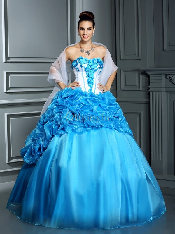 Blue Satin Sweetheart Ball Gown Floor-Length Prom Dresses