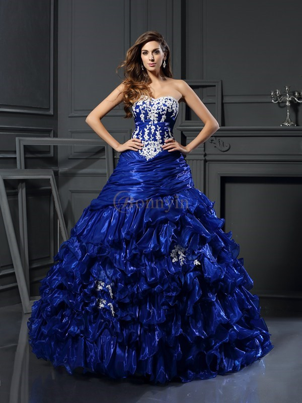 Royal Blue Tulle Sweetheart Ball Gown Floor-Length Prom Dresses