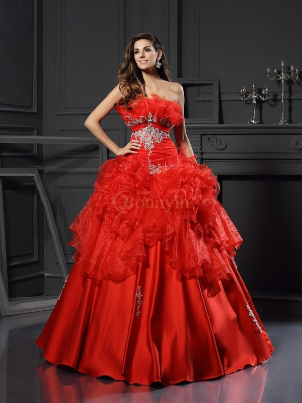 Red Organza Strapless Ball Gown Floor-Length Prom Dresses