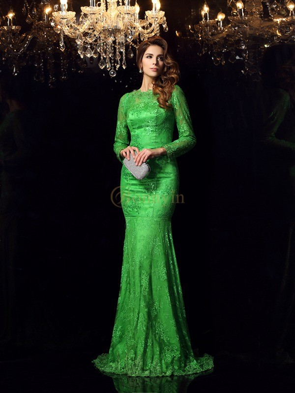 Hunter Green Elastic Woven Satin High Neck Trumpet/Mermaid Court Train Dresses