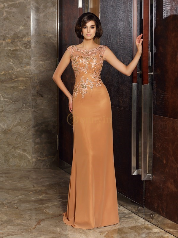 Orange Chiffon Scoop Sheath/Column Sweep/Brush Train Mother of the Bride Dresses