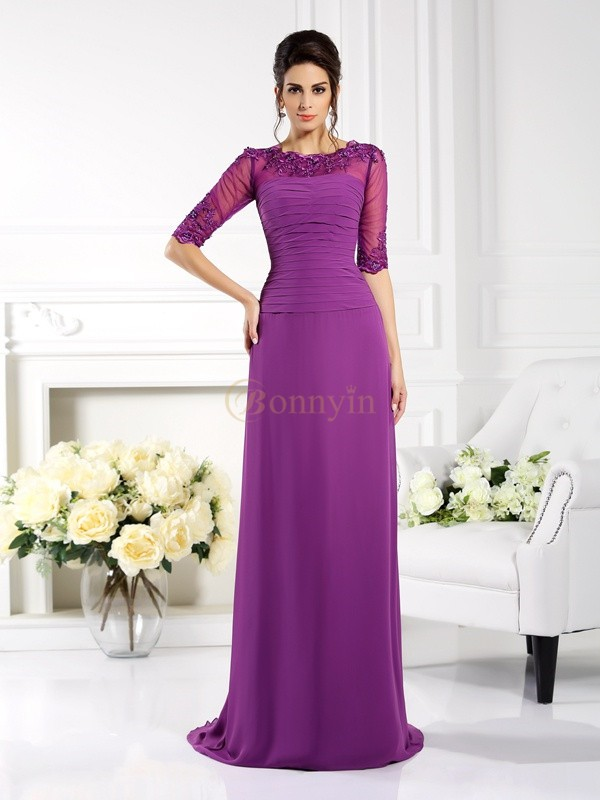 Fuchsia Chiffon Scoop Sheath/Column Sweep/Brush Train Dresses
