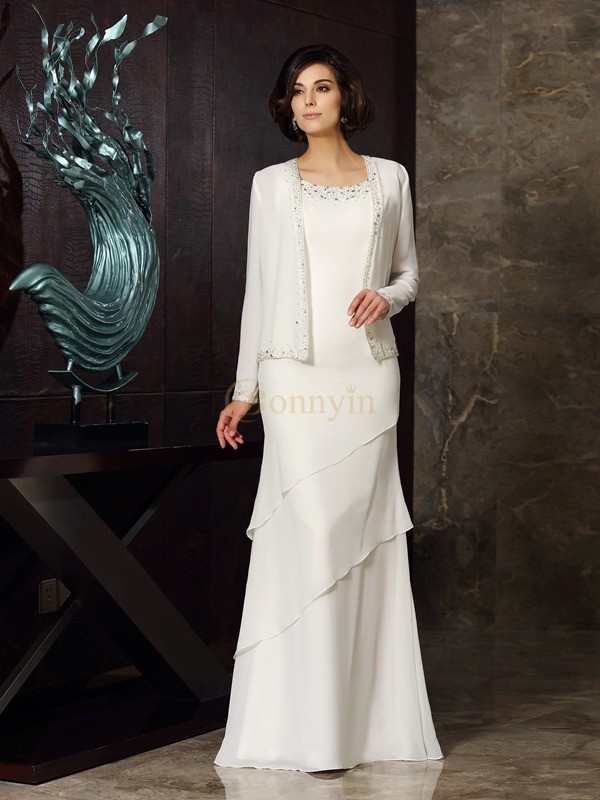 Ivory Chiffon Scoop Sheath/Column Floor-Length Mother of the Bride Dresses