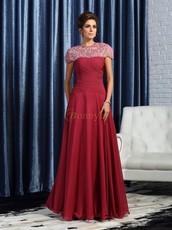Burgundy Chiffon Sweetheart A-Line/Princess Floor-Length Mother of the Bride Dresses