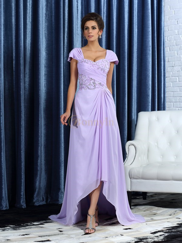 Lilac Chiffon Straps A-Line/Princess Asymmetrical Mother of the Bride Dresses