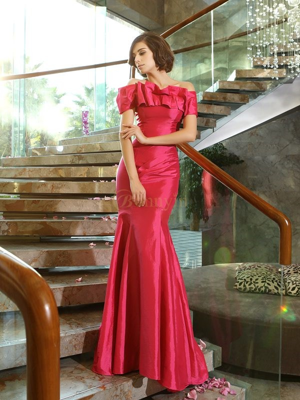 Fuchsia Taffeta Strapless Trumpet/Mermaid Sweep/Brush Train Mother of the Bride Dresses