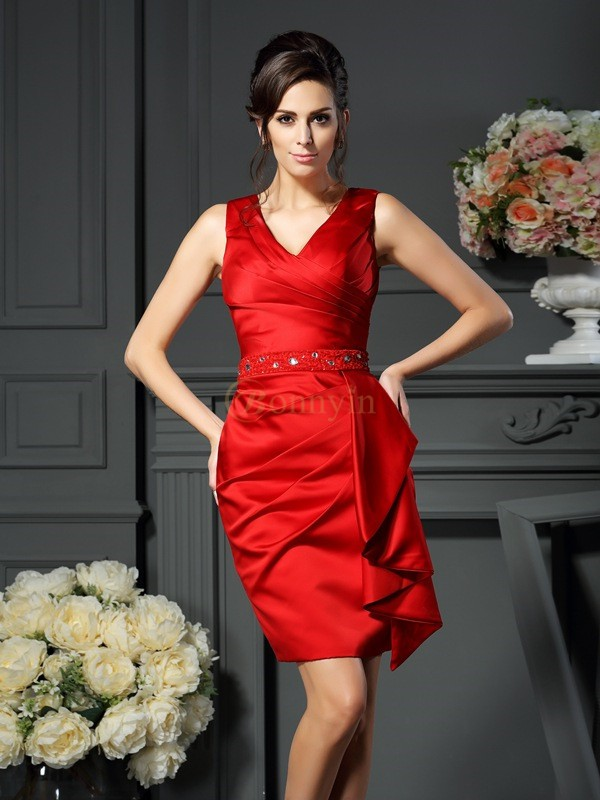 Red Satin V-neck Sheath/Column Knee-Length Mother of the Bride Dresses