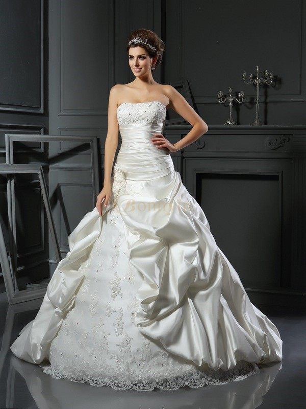 Ivory Satin Sweetheart Ball Gown Court Train Wedding Dresses
