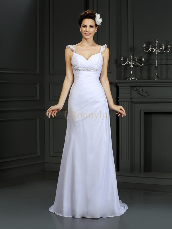 White Chiffon Straps Trumpet/Mermaid Court Train Wedding Dresses