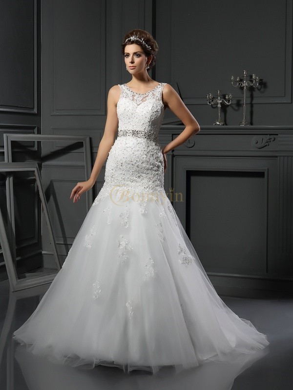 Ivory Net Scoop Sheath/Column Court Train Wedding Dresses
