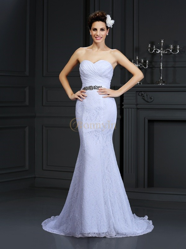 White Lace Sweetheart Trumpet/Mermaid Chapel Train Wedding Dresses