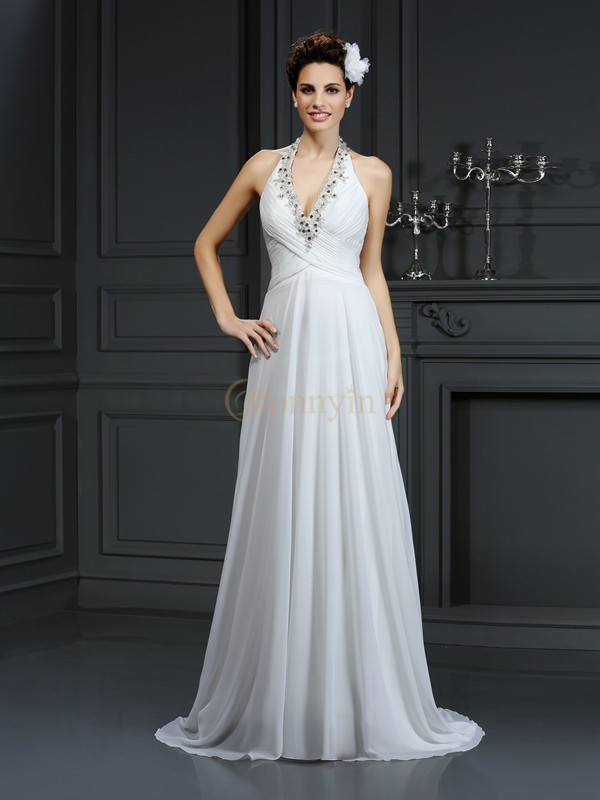 Ivory Chiffon Halter A-Line/Princess Court Train Wedding Dresses