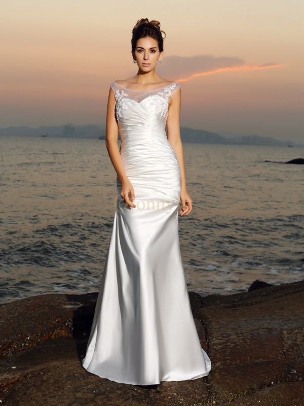 Ivory Satin Scoop Trumpet/Mermaid Sweep/Brush Train Wedding Dresses