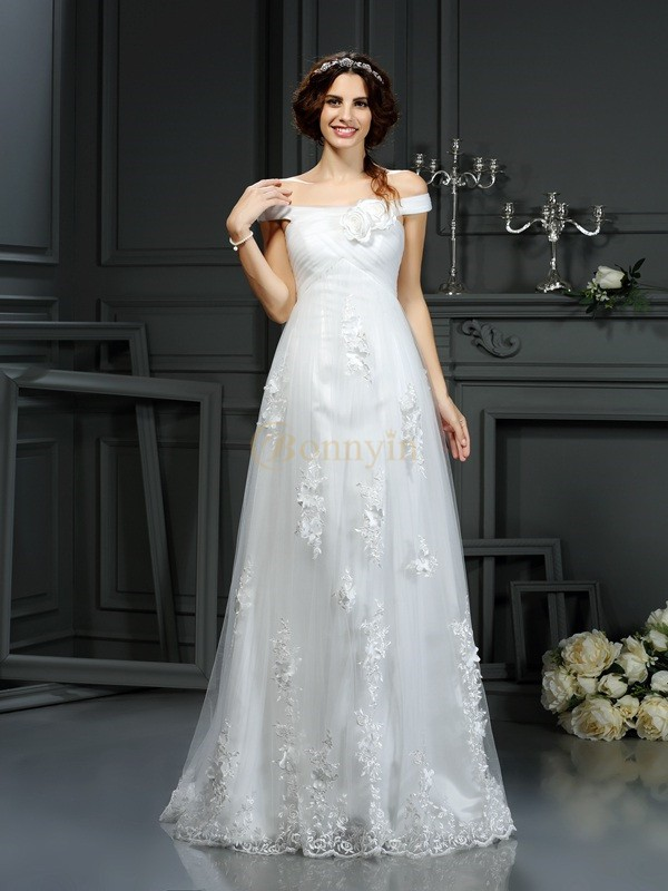 Ivory Net Off-the-Shoulder A-Line/Princess Court Train Wedding Dresses
