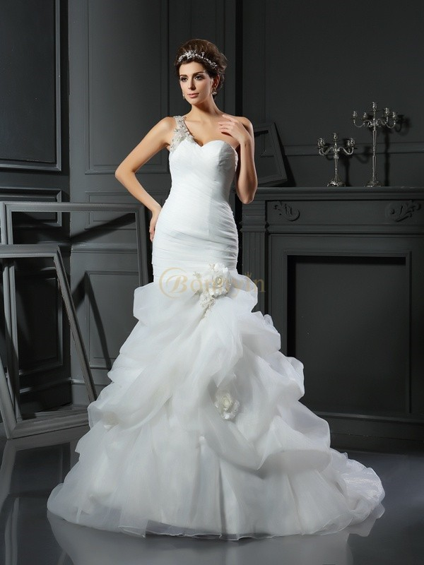 Ivory Satin Sweetheart Trumpet/Mermaid Chapel Train Wedding Dresses