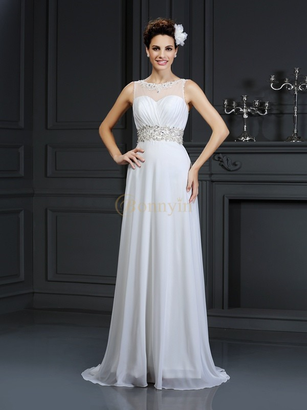White Chiffon Bateau A-Line/Princess Chapel Train Wedding Dresses