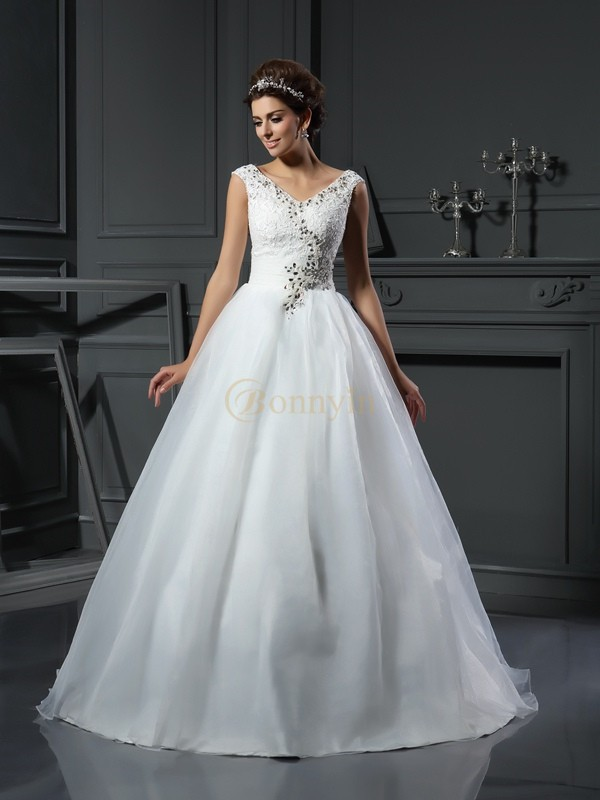 Ivory Organza V-neck A-Line/Princess Chapel Train Wedding Dresses