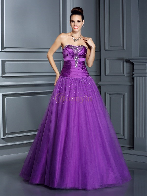 Regency Taffeta Strapless Ball Gown Floor-Length Prom Dresses