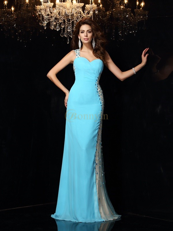 Blue Chiffon One-Shoulder Sheath/Column Floor-Length Dresses