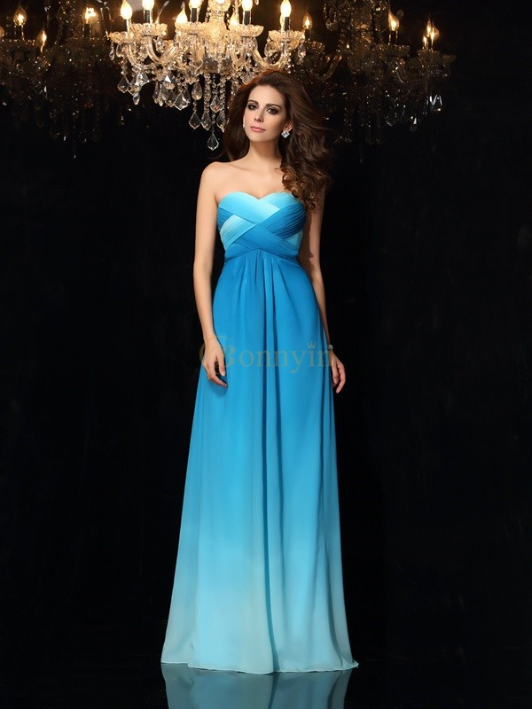 Multi Colors Chiffon Sweetheart A-Line/Princess Floor-Length Prom Dresses