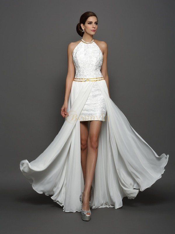 White Chiffon High Neck A-Line/Princess Chapel Train Wedding Dresses
