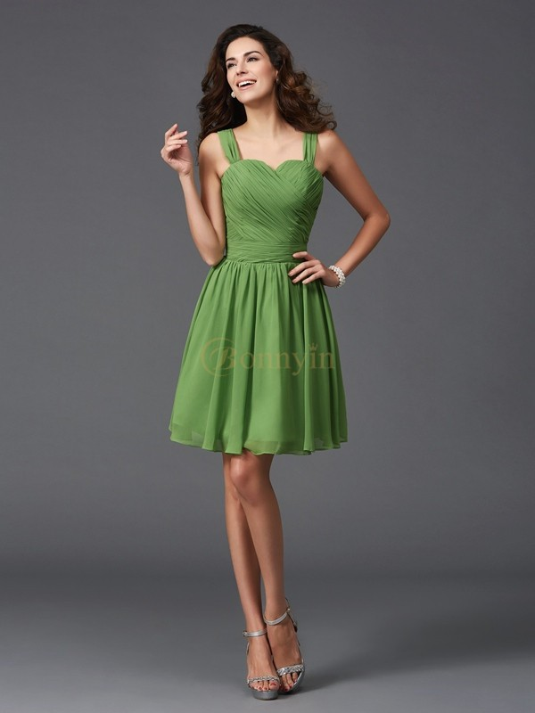 Green Silk like Satin Straps A-Line/Princess Short/Mini Bridesmaid Dresses
