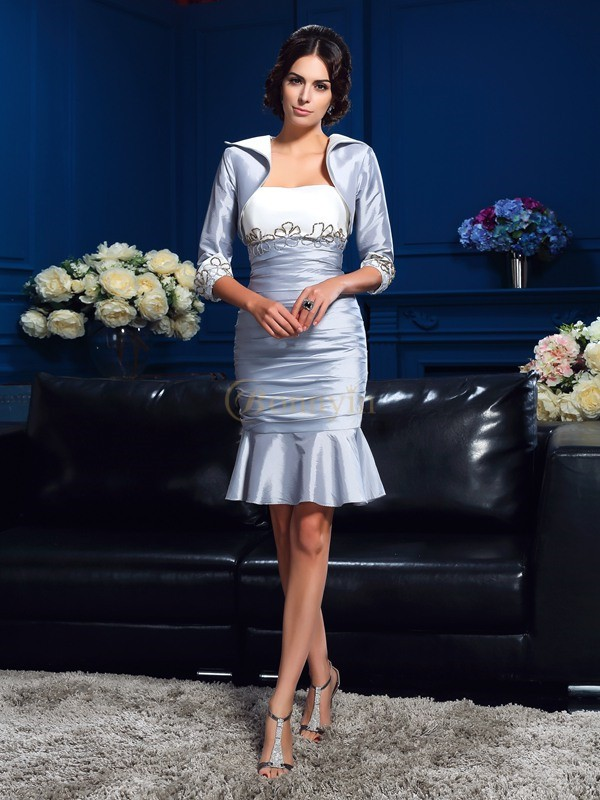 Silver Taffeta Sweetheart Sheath/Column Short/Mini Mother of the Bride Dresses