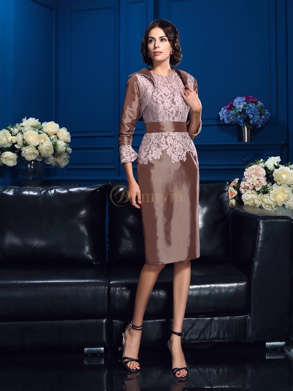 Taffeta Jewel Sheath/Column Knee-Length Mother of the Bride Dresses