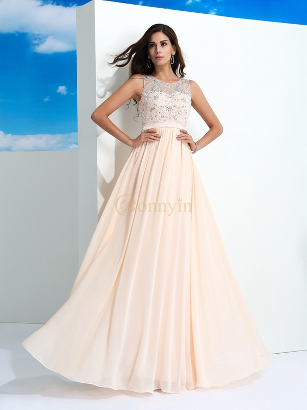 Pearl Pink Chiffon Sheer Neck A-Line/Princess Floor-Length Prom Dresses