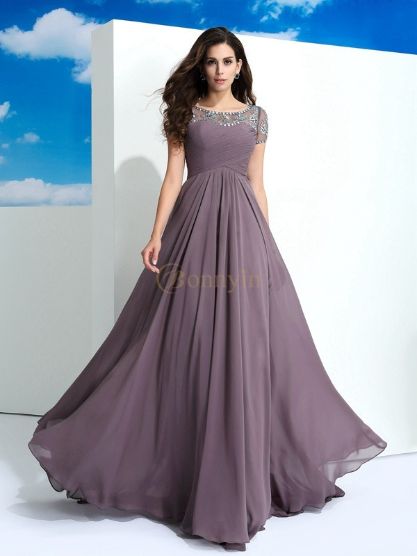 Brown Chiffon Sheer Neck A-Line/Princess Floor-Length Prom Dresses
