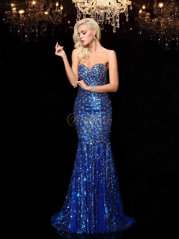 Royal Blue Sequins Sweetheart Trumpet/Mermaid Sweep/Brush Train Prom Dresses