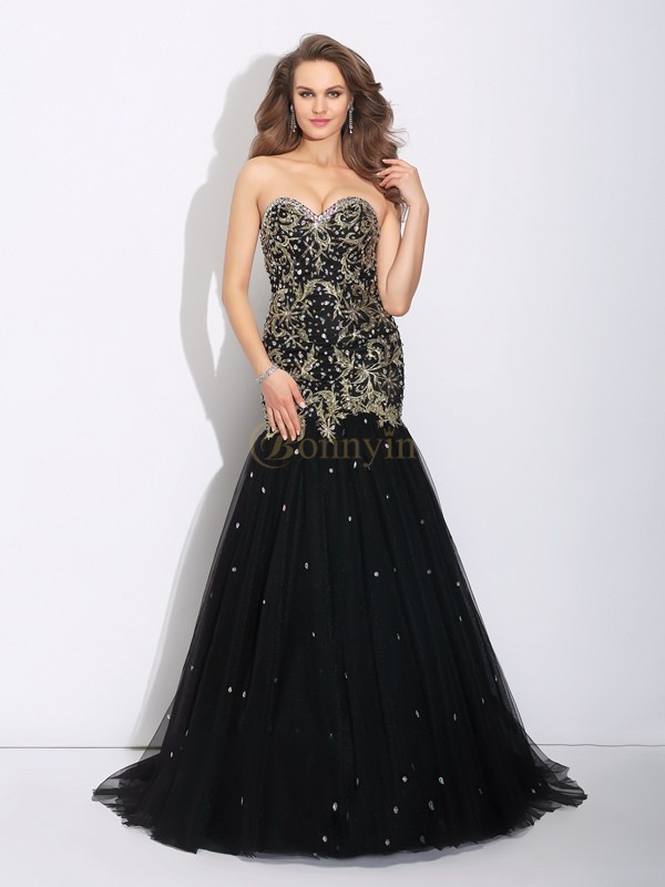 Black Satin Sweetheart Trumpet/Mermaid Sweep/Brush Train Prom Dresses
