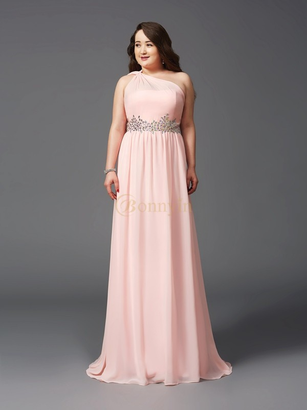 Pink Chiffon One-Shoulder A-Line/Princess Sweep/Brush Train Prom Dresses